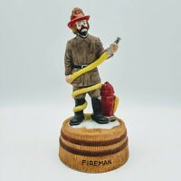 Vintage EMMETT KELLY JR  Flambro FIREMAN Clown Figurine Wind Up Music Box WORKS