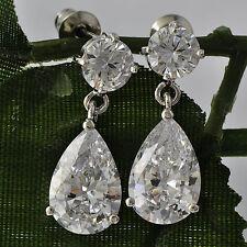 Gold Plated Silver crystal stud ear cute long drop CZ dangle earring Woman