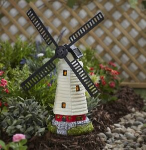 Solar Powered Light Up Windmill Outdoor Garden Ornament Automatic LED Lights