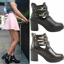Buckle Block Synthetic Leather Shoes for Women