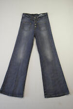 B-015 LADIES DR DENIM EXPOSED BUTTON FLARE STRETCH HIGH RISE BLUE JEANS 28/32