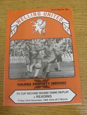 22/12/1989 Welling United v Reading [FA Cup 3rd Replay] (Four Pages). Thanks for