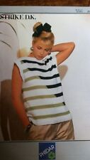 "knitting pattern Ladies Girls 2 tone stripped Sweater 32""-38"" chest DK wool"