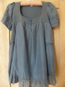 Noa Noa Silk and Cotton panels Blue Tunic Top/Mini Dress Size S RRP£75