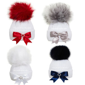 BABY KNITTED HATS GIRLS BOYS POMPOM HAT WITH BOW NEWBORN FUR BOBBLE
