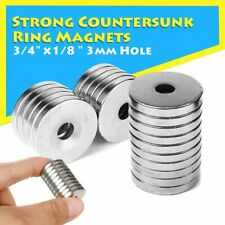 10x Strong Countersunk Round Earth Ring Magnets 3/4'' x1/8'' Hole 3mm Neodymium