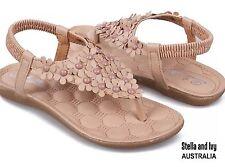 womens beige daisy sandals size 8 au new