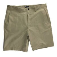 Hurley Mens One & Only Walkshorts Flat Front Chino Beige Khaki Shorts Size 38