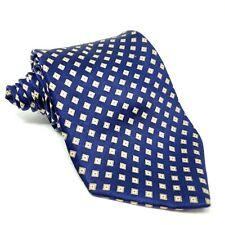 """CLAYBROOKE 100% Silk Tie Mens Blue Gold Diamond Medallion Necktie 4"""" Wide"""