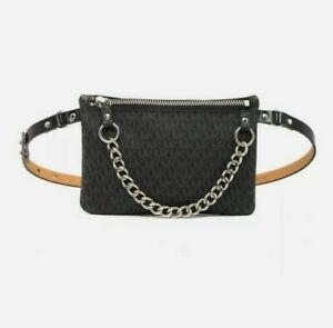 MICHAEL KORS MK Black Fanny Pack Logo Belt Wallet Waist Bag W/ Chain preowned