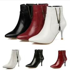 Sexy Womens Ankle Combat Boots Ladies Zip Pointy Toe Booties Prom Shoes All UK D