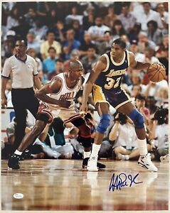 Magic Johnson Signed 16x20 Photo Autographed JSA ITP COA vs. Michael Jordan Wh