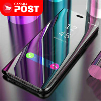 For Huawei P20 Lite P20 Pro Luxury Mirror View Clear Stylish Flip PU Case Cover
