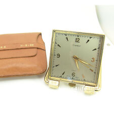Cartier 8 Days Clock, Conocord, Square Case,Brass, Travel Pouch, NICE