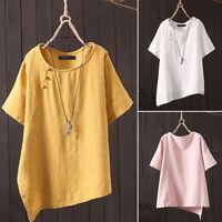 ZANZEA Women Round Neck Summer T-Shirt Asymmetrical Hem Blouse Tee Shirt Blouse