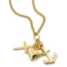 Juego de joyas oro 585 Cadena Colgante Amor Fe Esperanza (11145/45 + 11956)