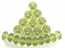 20 OLIVINA verde sfaccettata perline vetro ceco Donut - 4x7mm (4-7 fpdon 5023)