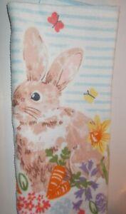FULL UNCUT  EASTER RABBIT FLORAL CARROTS  Print Cotton Kitchen Towel