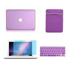 """4in1 Rubberized PURPLE Case for Macbook White 13"""" +Keyboard Cover+LCD Screen+Bag"""
