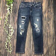 Miss Me 25 Boyfriend Ankle Jeans Distressed Patchwork Women's Casual Denim