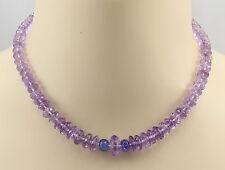 Amethystkette - Pink Amethyst mit Tansanit Halskette für Damen 43 cm