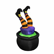 Witch Legs in Pot Halloween Decor Outdoor Indoor Lighted Inflator Fan Yard Party