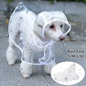Pet Dog Puppy Clear Rain Coat Waterproof Jacket Hooded Clothes Rainwear