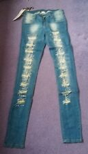 "Jeans by Ad'oro Ripped & Embellished Size M Waist 27"" Leg 33"" New"