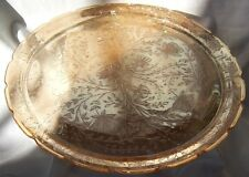 """JEANNETTE GLASS CO. FLORAGOLD MARIGOLD IRIDESCENT 13-1/2"""" DIAMETER PLATE or TRAY"""