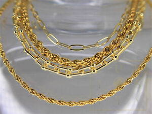 18K Yellow Gold Plated Jewelry Necklace Chain Jewellery Twisted Paperclip U Link