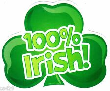 """5.5"""" St patricks day 100% irish clover holiday window cling decal cut out"""