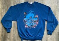 VTG JERZEES Unicorn Sweatshirt Raglan Size Medium Blue Made in the USA