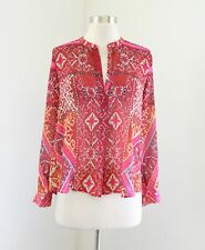Cynthia Vincent Made in Kind Medallion Print Blouse Top Size XXSP PXXS Red Pink