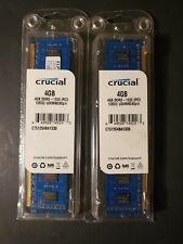 New listing Lot of 2 Crucial Pc3-10600 4 Gb Dimm 1333 Mhz Pc3-10600 Ddr3 Sdram Memory (8Gb)
