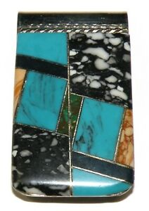 Vntg Southwestern Style Turquoise and Snowflake Inlay Money Clip Stainless Steel