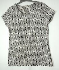 CREAM IVORY BLACK FLORAL LADIES CASUAL STRETCH SIZE 16 TU TOP BLOUSE
