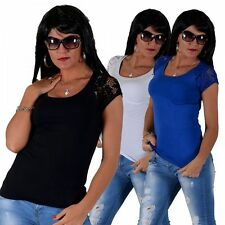 Markenlose hüftlange Kurzarm-Damen-T-Shirts unifarbene