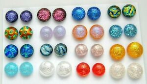 FOR POST EARRINGS TINY Lot 32 pcs round gorgeous DICHROIC FUSED GLASS (M3) CABS