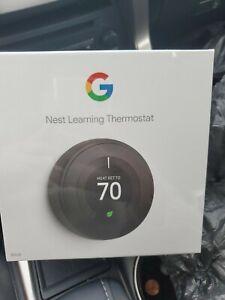 Google Nest 3rd Gen Learning Thermostat Mirror Black T3018US