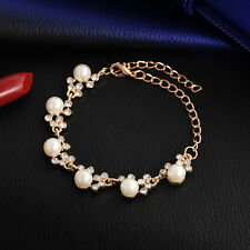 Women Gold Plated Bangle Crystal Cuff  pearl chain Bracelet Jewelry Fashion Gift
