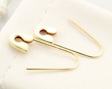 14k Yellow Gold Safety Pin Earrings (PAIR) 1''long Handmade in USA