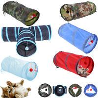 Pet Cat Kitten Dog Puppy Rabbit Folding Tunnel Game Play Toys w/ Bell Ball Gift