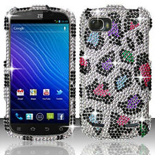 For ZTE Warp Sequent Crystal Diamond BLING Hard Case Phone Cover Rainbow Leopard