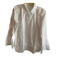Calvin Klein Bright White Bell Sleeve Blouse Small Crisp Button Front NWOT