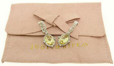 Judith Ripka Sterling Silver Oval Canary Yellow Crystal White Sapphire Earrings