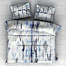 Indigo Blue Tie Dye Shibori Print Duvet Donna Cover King Size Blanket Quilt Set