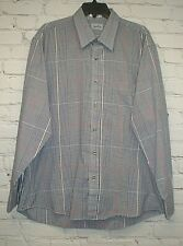 Signature Designed Fashion Mens Size XL Blue White Yellow Red Button Front Shirt