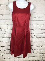 Vintage Red Satin Corset Back 90s Satin Skater Rockabilly Dress Size 5/6