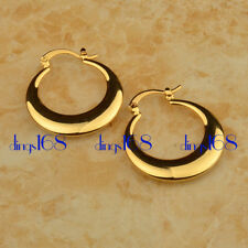 Ladies 18K Gold Filled 30mm Medium Size wide Round  Flat Hoop Earrings HC1Yellow