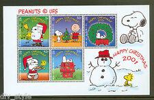 Snoopy Christmas Peanuts souvenir sheet 2001 Gibraltar Charlie Brown